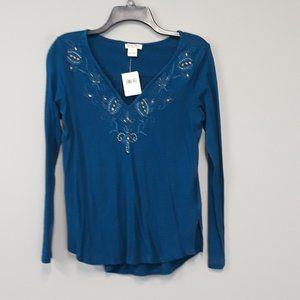 NWT Lucky Brand Teal Blue Pinstripe Floral Top
